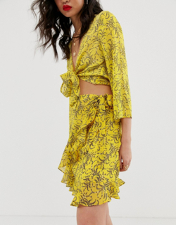 Na-kd floral print mini skirt in yellow-White