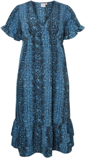 JUNAROSE Slangeprint Midikjole Women Blue