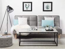 Beliani Soffbord marmormönster med svarta ben DELANO