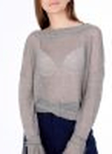 Lina Linen Knit Blouse Grey/ Brown