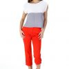 Cotton Ankle button pants red