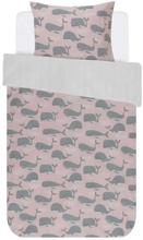 Junior sengetøj med hvaler - Covers & Co - 100x140 cm - 100% bomulds renforcé - Covers & Co Wally Rose