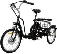 Trehjulig elcykel - 6 växlar - Mattsvart