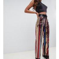 Starlet - Regnbågsrandiga byxor med vida ben och paljetter - Flerfärgat randigt mönster