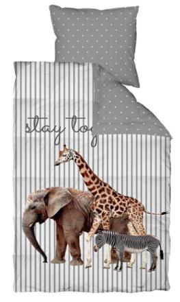 Sengetøj - 100% Bomuld - By Night - Savannedyr - 70x100 cm - Sengetøj med lynlås - shopdyner