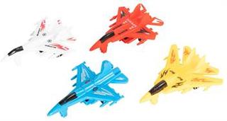 Legetøjs sæt med 4 jetfly - Med træk og slip funktion