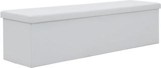 vidaXL Förvaringsbänk hopfällbar konstläder 150x38x38 cm vit