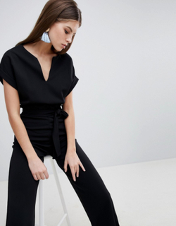 Boohoo basic tailored wide leg jumpsuit - Black