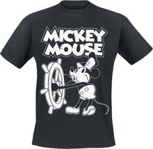 Mickey Mouse - Steamboat Willie -T-skjorte - svart