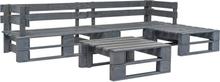 vidaXL Pallsoffa set 4 delar trä grå