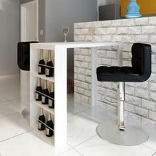 vidaXL Baaripöytä viinipullotelineellä MDF Korkeakiilto valkoinen