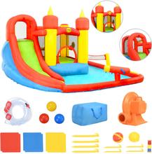 Happy Hop Uppblåsbar hoppborg med rutschkana och pool 410x385x220 cm PVC