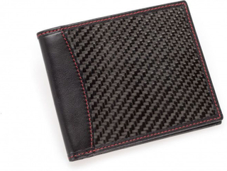 Leather and carbon fiber wallet MR CARBONO California Red Certified by UPC