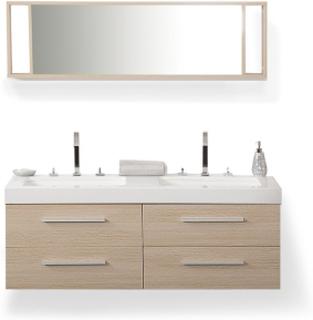 Badrumsmöbler väggskåp spegel och 2 tvättställ beige MALAGA