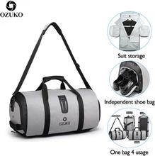 OZUKO Multifunction Men Travel Bag Large Capacity Waterproof Duffle Bag Suit Storage Hand bag Trip Luggage Bags with Shoe Pouch
