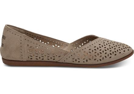 TOMS Damen Schuhe Taupe Suede Mosaic Jutti - Größe 37.5