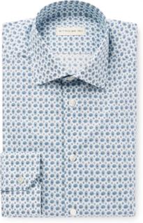 White Slim-fit Paisley-print Stretch-cotton Poplin Shirt - Blue