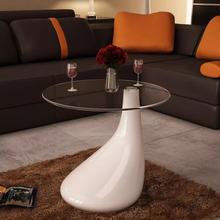 vidaXL Sohvapöytä pyöreä lasinen pöytälevy Korkeakiilto valkoinen