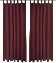 vidaXL 2pack gardiner med öglor i vinröd microsatin 140 x 225 cm