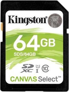 Kingston Minneskort Canvas Select SDXC-kort, 64GB, UHS-I Klass 10