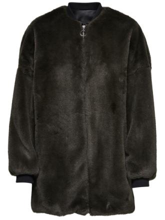 ONLY Faux Fur Jacket Women Grey