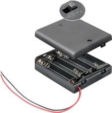 Batterihållare med strömbrytare, 4 x AA-batterier