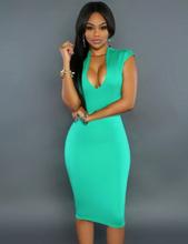 Fresh Green U-Neck Bodycon Dress