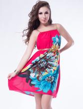 R79714 Multi Flowers Ladies Fashion Dress With Belt