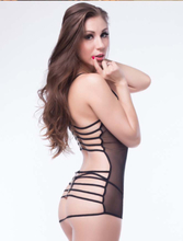 Strappy Back Black Mesh Babydoll