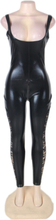 Sexy Faux Leather Stretch Catsuit Lace Insert Legs Costume