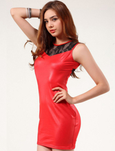 Red Faux Leather Round Neck Lace Skinny Dress