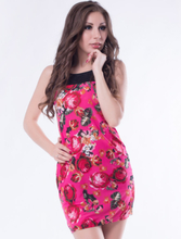 Pink Flower Print Dresses