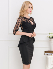 Three Quarters Sleeve Embroidery Black Peplum Dress