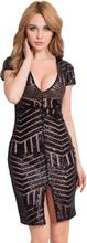 Black Sequins V Neck Nude Dress