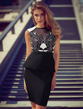 Laser Cut Peplum Dress