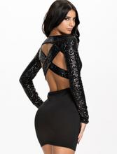 Black Long Sleeves Cross Back Sequined Dress