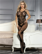 Floral Motif Mesh Black Bodystockings