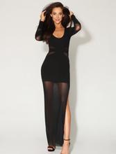 Black Mesh Panelled High Thigh Split Maxi Dress