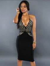 Black Delicate Lace Halter Club Dress