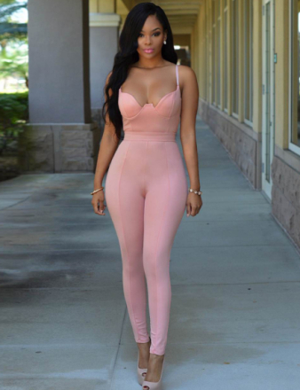 Tight-fitting Cute Pink Jumpsuit
