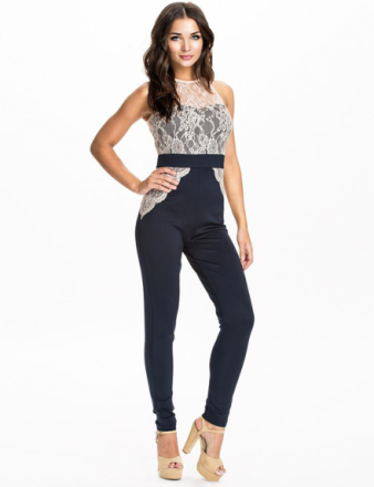 Monochrome Belted High-waisted Overall