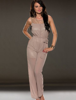 JR70024-2 Jumpsuit Taupe