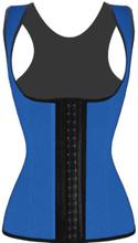 4 Steel Bones Latex CorsetVest Waist Cincher Body Shaper Blue