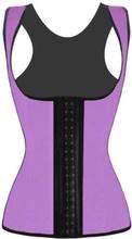 4 Steel Bones Latex Corset Vest Waist Cincher Body Shaper Purple
