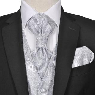 vidaXL Bryllupsvest sett herrer i sølvfarget paisleymønster str 48
