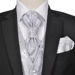 vidaXL Bryllupsvest sett herrer i sølvfarget paisleymønster str 50