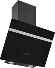 vidaXL vægmonteret emhætte 60 cm rustfrit stål og hærdet glas sort