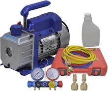 vidaXL ettrins-vakuumpumpe med firevejs-trykmålersæt med manifold