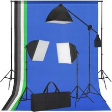 vidaXL studieudstyr med softbox-lamper og bagtæpper