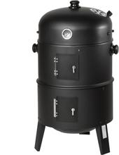 3-i-1 BBQ Smoker Grill inkl. termometer - sort